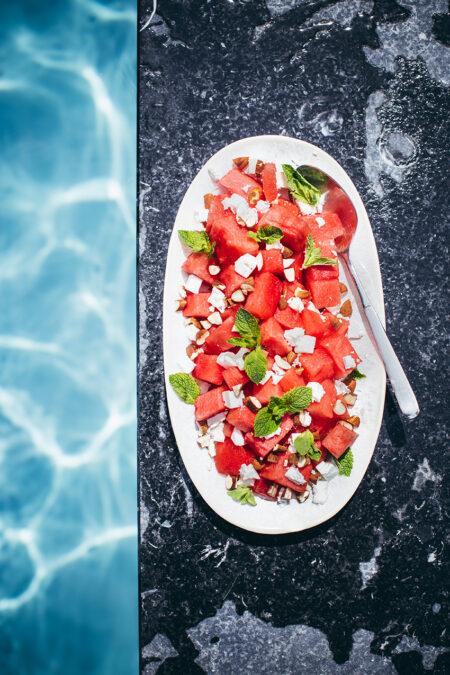Wassermelonen-Feta-Salat. Sommer-Rezept.